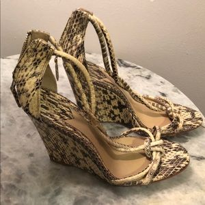 BRIAN ATWOOD Prisccilla Snakeskin Wedges 8.5